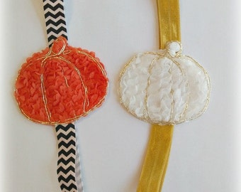 Pumpkin Headband...Baby Pumpkin Headband...Pumpkin Headbands...Toddler Pumpkin Headband...Thanksgiving...Halloween