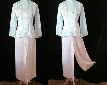 CLEARANCE Dreamy 1950's Silk Asian Pajama Lounge Set with Hand Embroidery Lingerie Rockabilly VLV Pinup Girl Boudoir Vixen Size-Small-Medium