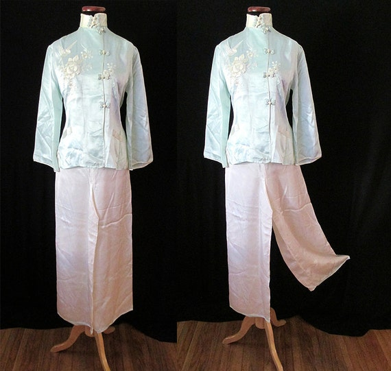 Dreamy 1950's Silk Asian Pajama Lounge Set with Hand Embroidery Vintage Lingerie Rockabilly VLV Pinup Girl Boudoir Vixen Size-Small-Medium