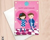 Anniversary Dance - Disco Dance - Boy & Girl - Happy Anniversary Greeting Card