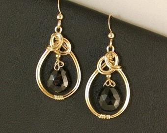 Black Gemstone Gold Earrings, Black Spinel Teardrop Gold Wire Dangle Earrings
