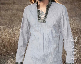 NEW! Men's Long Tunic Top in Silver w/Gray Faux Leather Collar & Cuffs w/ Silver Moons by Opal Moon Designs (Size S-XXL)