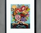 Tree of Love- 8x10 inches Print. Folk flowers, art painting flowers, bohemian, folk, funky, naive, primitive.