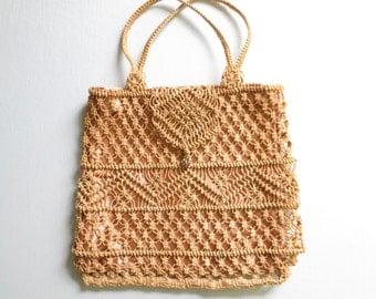 Vintage Woven Pouch * Boho Macrame Purse * Satin Tote Bag