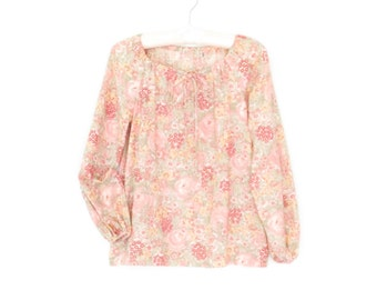 Vintage Peasant Blouse * Floral 70s Shirt * Romantic Blouse * Small / Medium