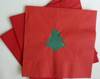 Mini Christmas Tree Paper Cocktail/ Luncheon. Dinner Napkins - Red and Green