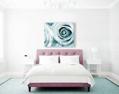 Pastel Wall Art, Blue Flower Canvas Art, Bedroom Wall Art, Roses Photography on Canvas