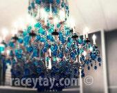 Chandelier Wall Art, Blue Teal Turquoise Beige, Baby Girl Nursery Decor, Wall Art, Fine Art Photography