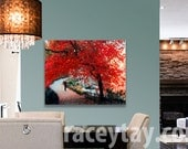 Central Park, Large Canvas Art, Red, Fall, Rustic Decor, New York Photography, Rustic Canvas