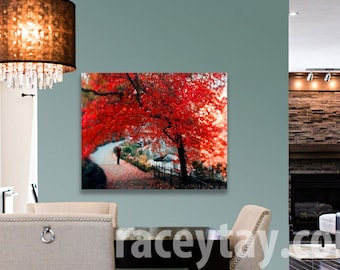 Central Park Print on Canvas - Large Wall Art Canvas - Red Rustic Wall Decor - Central Park Tree