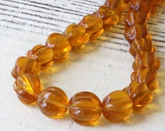 10mm Melon Bead - Czech Glass Beads For Jewelry Making (20 pieces)  Amber