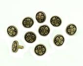 10 pcs. Vintage Flower Metal Antique Brass Rivet Stud Buttons Leather Craft Decorations Findings 10 mm. FW BR10 154