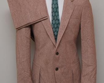 1970s men's brown tweed 2 piece suit/ 70s men's brown tweed 2 piece suit/ John Hampton