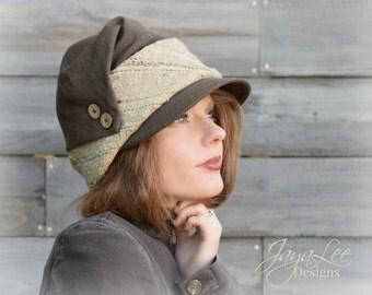 Rustic Draped Cloche Hat, 1920's Art Deco Fall Fashion,