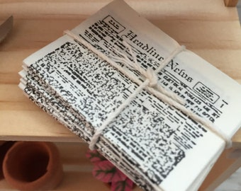 Miniature Newspaper Bundle, Dollhouse Miniatures, 1:12 Scale, Dollhouse Accessory, Decor, Mini Papers, Tied Newspapers, Stack of Papers