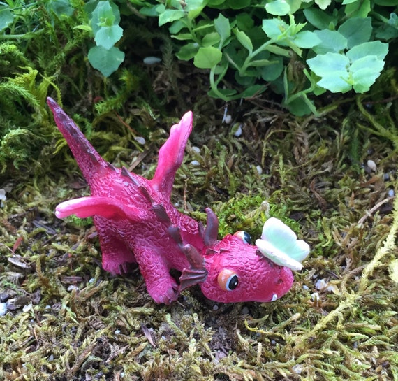 Mini Red Dragon With Butterfly Figurine, Fairy Garden Accessory, Garden Decor, Enchanted Story, Topper, Shelf Sitter