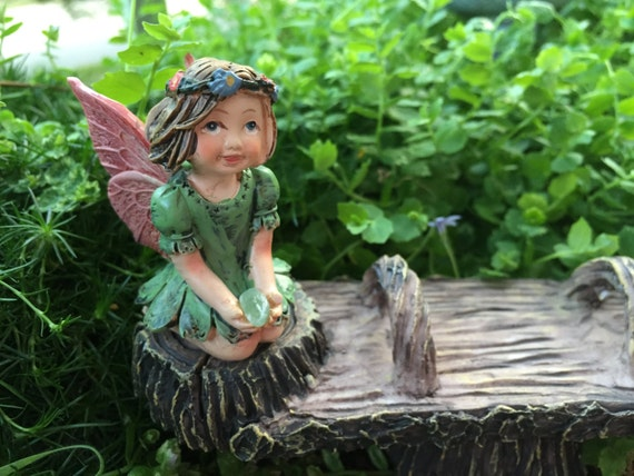 Sweet Flower Crown Fairy Figurine, Kneeling Fairy, Green Dress, Holding Gem, Fairy Garden Accessory, Miniature Garden Decor, Topper