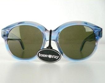 Vintage 80s Sunglasses, Blue Variegated Frame, Gray Lens, Oversized Glasses, Plastic,  Tone Ray, France, New Old Stock, Boho, Festival