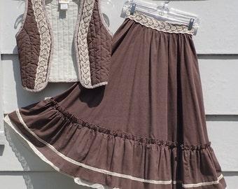 Vintage 1970's 2pc GUNNE SAX Dress Brown & White Polka Dot w/Lace Skirt and Vest-Retro Boho Prairie SM