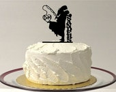 Fishing Wedding Cake Topper,  Personalized Fishing Themed Wedding Cake Topper, Fishing Cake Topper, Silhouette Cake Topper, Fishing Cake