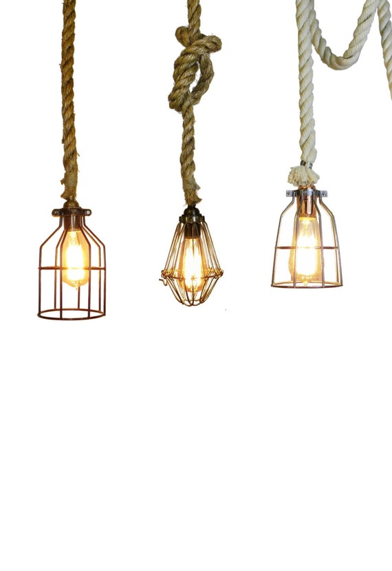 Rope Cage Pendant Rustic Lighting Rustic Light Fixture | Etsy