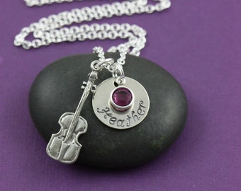 SALE - Violin Necklace - Violin Jewelry - Personalized Music Necklace - Custom Birthstone - Gift for Musician - Fiddle - Band Gift - Strings