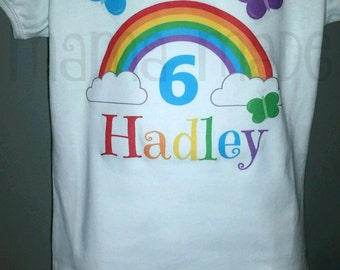 Personalized Rainbow Birthday Shirt or Bodysuit, butterfly shirt. rainbow birthday party, rainbow butterfly birthday shirt, butterfly party