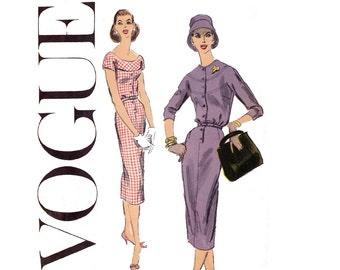 50s Bias Yoke Dress Pattern Vogue 8936 Vintage Size 16 Bust 36 inches UNCUT Factory Folded