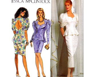 Two Piece Wedding Dress Pattern 90s Simplicity 7563 Puffy Sleeves Peplum Top Slim Skirt Size 12 - 16 Bust 34 - 38""