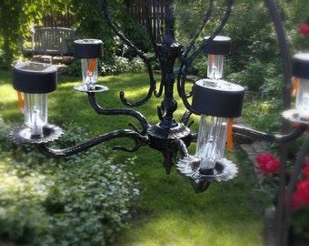 Black Antique Gothic Chandelier. Architectural Salvage Restoration. ALtered Upcycled Lighting. Solar light chandelier.