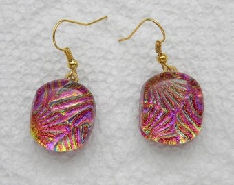 DANGLE EARRINGS fused dichroic glass (SYH6)