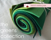 9x12 Wool Felt Sheets - A Collection of Greens - 8 Sheets of Felt