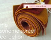 9x12 Wool Felt Sheets - The Sonoma Sunset Collection - 8 Sheets of Felt