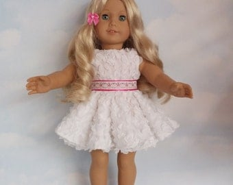 18 inch doll clothes - #300 White Petal Dress made to fit the American Girl Doll - FREE SHIPPING