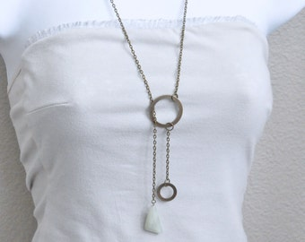 Long Antique Brass Lariat Necklace, Aventurine Necklace, Green Gemstone Necklace, Asymmetric Necklace, Green Stone Necklace, Circle Necklace