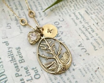 Tree of Life Necklace, Initial Necklace, Hand stamped Necklace, Best friend Gift, Handmade Jewelry, Bridesmaid Gift