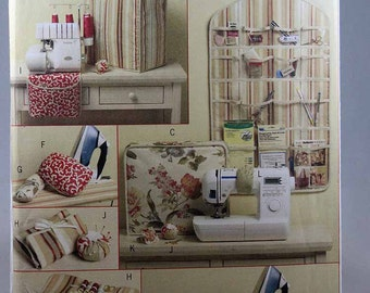 Butterick 5368, Sewing Room Pattern, Serger Cover, Sewing Machine Cover, Pincushion, Wall Organizer, Ironing Board Cover Patterns, Uncut