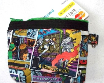 Star Wars Change Purse with Key Ring,Princess Leia,A Princess Alone,Empire Strikes Back Darth Vader,Chubacca,Small Gadget Pouch