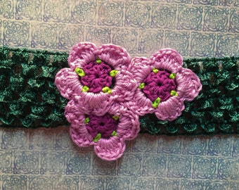 Crocheted Flower Headband - Pink Flower Headband - Adult or Child Floral Headband