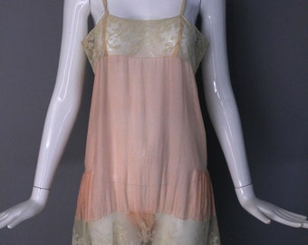 1920s baby pink LINGERIE STEP IN silk teddy with delicate and lovely lace hem 1930s vintage