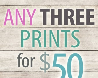 Purchase ANY THREE 8x10 Prints for 50 Dollars and save 10 dollars
