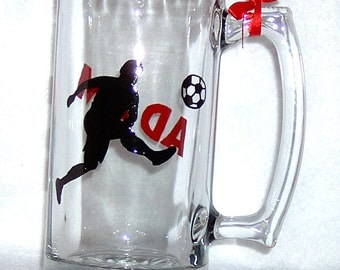 Soccer Personalized Beer Mug Hand Painted