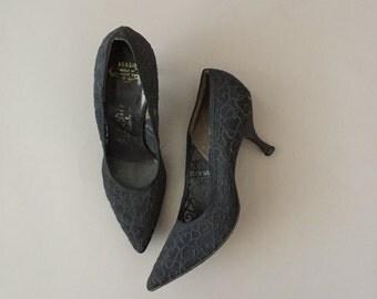 vintage 1960s heels / 60s black Deb Liso Debs illusion net vintage heels