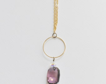 Amethyst Graphic Necklace - long with gold plated chain purple crystal