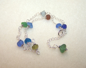 Sea Glass Anklets for Women Beach Glass Jewelry Adjustable Silver Chain Ankle Bracelet Gift Ideas for Her Multi Color Mermaid Tears