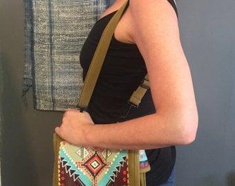 Geo Tribal Painted Army Bag Satchel : Collaboration piece with LynzeeLynx