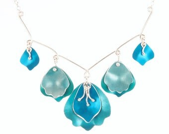 Romantic Statement Necklace- Floral Bridal Jewelry– Sterling silver and Custom Colors