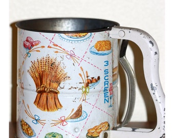 Flour Sifter Androck Hand i Sift 3 Screen Vintage Wheat Design 1950s