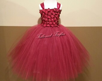 Burgundy Flower Girl Dress - Classic Burgundy Flowergirl Dress... Burgundy Wedding ...OTHER COLORS AVAILABLE, Sizes Baby up to Size 12