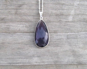 Purple Amethyst Necklace Bezel Set In Sterling Silver, Natural African Amethyst Jewelry, February Birthstone, Layering Necklace